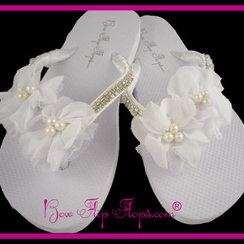 Bridal Flip Flops Wedge Rhinestone Diamond Flower Pearl Chiffon Tulle Bling Satin Jewel Bride Wedding Ribbon Bow, brides, bridesmaids