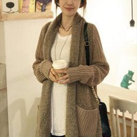 L 073007 Loose plush knit cardigan sweater from cassie2013