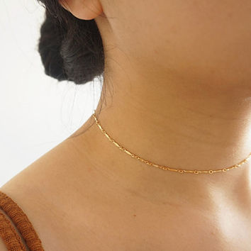 chunying Gold Choker Necklace, Layering Choker, Gold Filled Chain, Minimalist handmade chunying  XL507