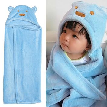 Baby Kids Bathing Towel Lovely Animal Flannel Cartoon Baby Kids Hooded Blankets Soft Baby Swaddle Wrap Infant Hooded Bath Towel