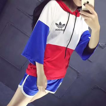 """""""Adidas"""" Women Loose Casual Fashion Multicolor Stitching Letter Print Short Sleeve Hooded Sweater Shorts Set Two-Piece Sportswear"""