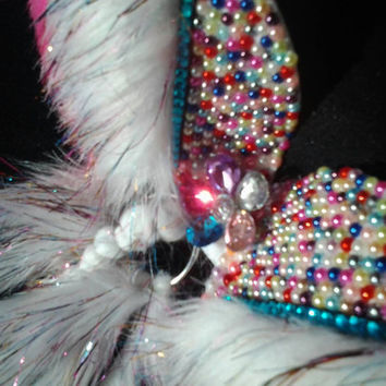 Bubble gum unicorn led custom rave bra