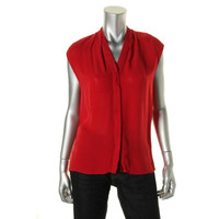 Elie Tahari Womens Adira Silk Sleeveless Button-Down Top