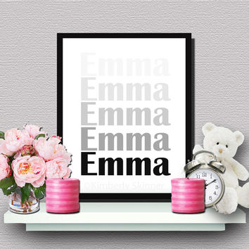 EMMA ~ Printable 8x10 Instant Download JPG, Baby Name Print, Name Sign, Nursery Decor, Teen Decor, Girls Name Sign, Wall Art, Wall Decor
