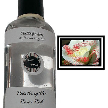 The Right Spot - Painting the Roses Red Natural Vegan, water based, latex compatible, sensual warming edible massage oil w/ Aloe Vera