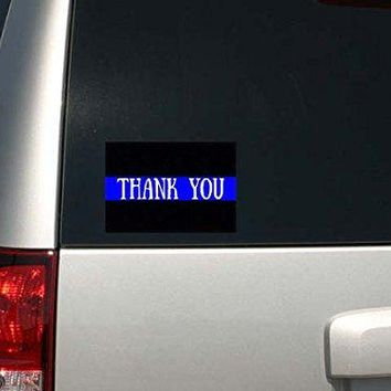 Police Law Enforcement Support Thin Blue Line Thank You Decal Sticker
