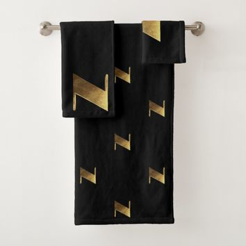 Monogram N Black and Gold Look Elegant Typography Bath Towel Set