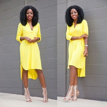 Yellow Long Sleeve V-Neck Long Back Dress