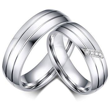 LineAve His or Her Couple Matching Ring Mens Womens Wedding Band Stainless Steel