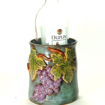 Pottery Wine Chiller,Ceramic Wine Chiller,Utensil Holder,Wine Accessories,Kitchen Decor,pottery ice bucket,Ready to Ship