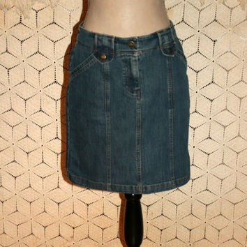 Short Denim Skirt Jean Skirt Women Size 4 Skirt Small Denim Midi Skirt Jones New York Womens Clothing
