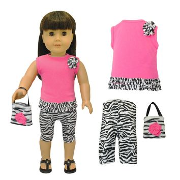 Doll Clothes Fits American Girl & Other 18 Inch Dolls Capri Zebra Dress Outfit