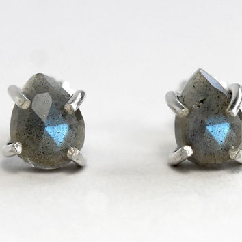 Rose Cut Labradorite Stud Earrings
