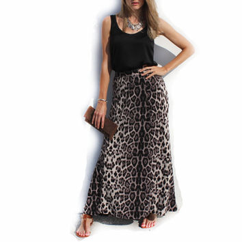 Women Long Maxi Leopard Animal Print Skirt Stretch by KBazaar