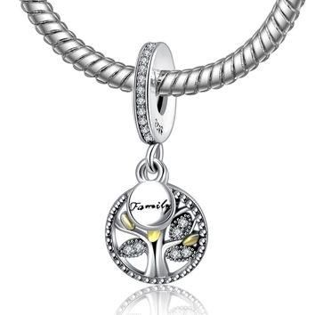 925 Sterling Silver Bead Charms Fine Tree Family Pendant Beads Fit Pandora Charm Brace