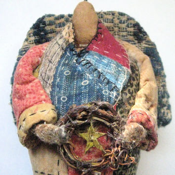 "OOAK Primitive Folk Art Angel-""PRAIRIE ANGEL with Folk Art Star Wreath""--Original Design Handcrafted from Antique Coverlet and Quilt"