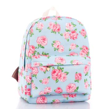 Rose Flower Canvas Lightweight Backpack