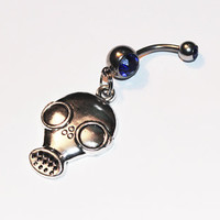 Gas Mask Belly Button Ring, Zombie Jewelry, Apocalypse, Spooky, Horror, Biohazard, Pandemic, Zombies, Gas Mask Jewelry, Belly Piercing