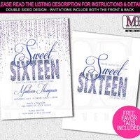 Purple Glitter, Sweet 16 Party Invitation, Printed Invitations or Digital File