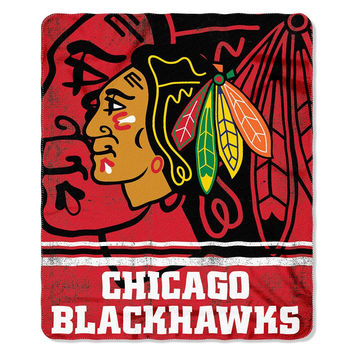 Chicago Blackhawks NHL Light Weight Fleece Blanket (Fadeaway Series) (50inx60in)