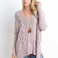 Cable Knit Sweater - Mauve