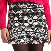 TRIBAL PRINT FLUTED SKIRT