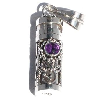 Sterling Silver Cylinder Prayer Box Pendant with Amethyst