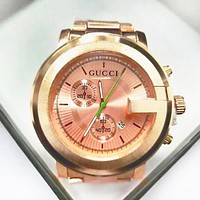 GUCCI Fashion New Couple Watch Little Ltaly Stylish Leisure Watch F-PS-XSDZBSH Rose Gold