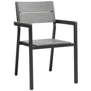 Gray Finish Dining Outdoor Patio Armchair