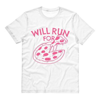 Will Run For Pizza (Pink Ink) Tee