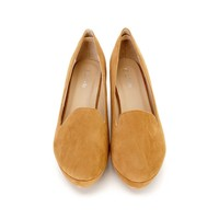 Tan Closed Toe Loafer Style Kiddie Wedges Faux Suede
