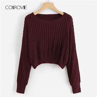 COLROVIE Burgundy Ribbed Casual Crop Women Sweater 2018 Autumn Knitted Streetwear Pullovers Jumper Girls Sweaters Women Clothes