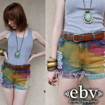 Handmade Hand Dyed Rainbow High Waisted Denim Jean Cut Offs XS S