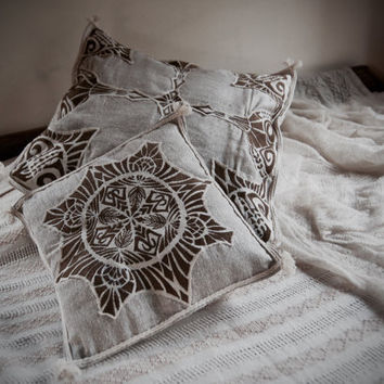 Cushions Cover Set  Made of Raw Silk with Embroidery Boho Natural Home Decor