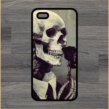 Skull Smelling A Rose Art Print Cell Phone Case iPhone 4/4s 5/5c 6/6+ Case and Samsung Galaxy S3/S4/S5