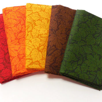 Fabric, Fat Quarter Bundle, Fall Leaves Assortment, 5 count