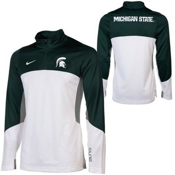 Nike Michigan State Spartans Shootaround Quarter Zip Long Sleeve Performance T-Shirt - Green/White