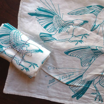 Fly Away Sparrows All Natural Cotton Flour Sack Napkins - Set of 2