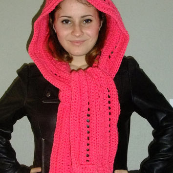 Crochet Scoodie , Accessories, Hood and Scarf Combo Scarf.
