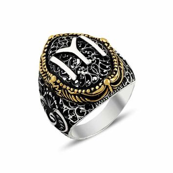 Authentic turkish monogram silver mens ring