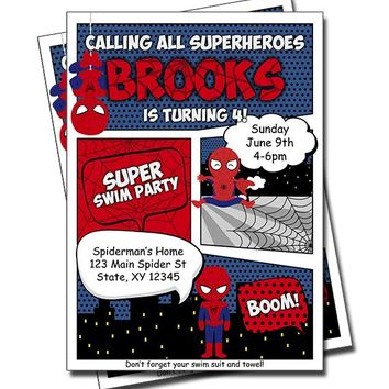 Spiderman Pool Party Invitations