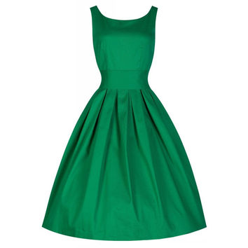 Vintage 50s Dress Hepburn Style Solid Color Bubble Dress   green   S