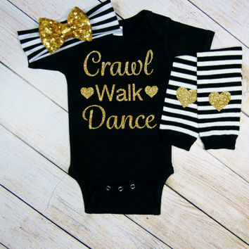 Baby Girl Gift Clothes Black Gold White Glitter Stripe Sequin Bow Headband Leg Warmers Take Home Outfit Gift Set Crawl Walk Dance