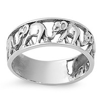 925 Sterling Silver Elephant Migration Ring