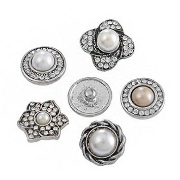 Souarts Mixed Antique Silver Color Faux Pearls Rhinestone Snap Button Jewelry Charms 5pcs