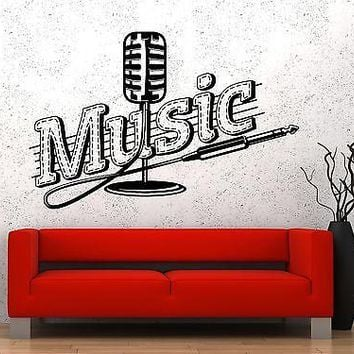 Wall Vinyl Music Microphone Song Singing Guaranteed Quality Decal Unique Gift (z3555)