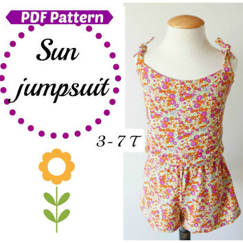 Girls Dress Jumpsuit Pattern mod. Sun:Playsuit pattern, playsuit,girl dress pattern,girls dress,jumpsuit pattern,girl playsuit,girls dresses
