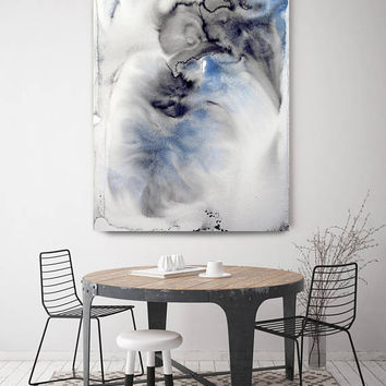 """Coastal Watercolor Abstract 53. Watercolor Abstract Blue Black Canvas Art Print up to 72"""" by Irena Orlov"""