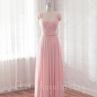 Long prom dress, blush formal dress, A-Line backless evening dress