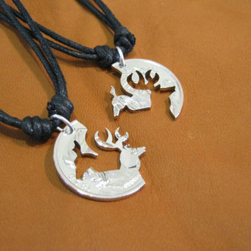 Buck and Doe Necklace, Interlocking Silver Coin from Mexico